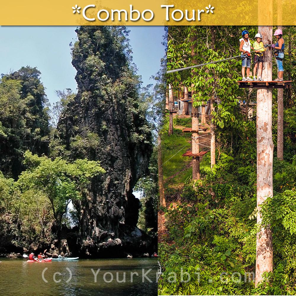 Kayaking in Thalane + Ziplines combo tour